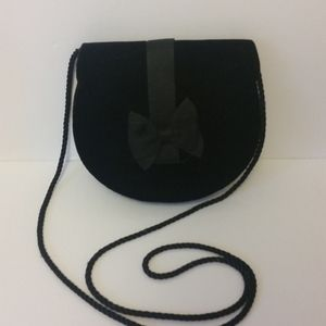 Perfect Little Black Velvet Purse with Bow